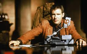 Deckard (Harrison Ford) uses his Voigt-Kampff machine.