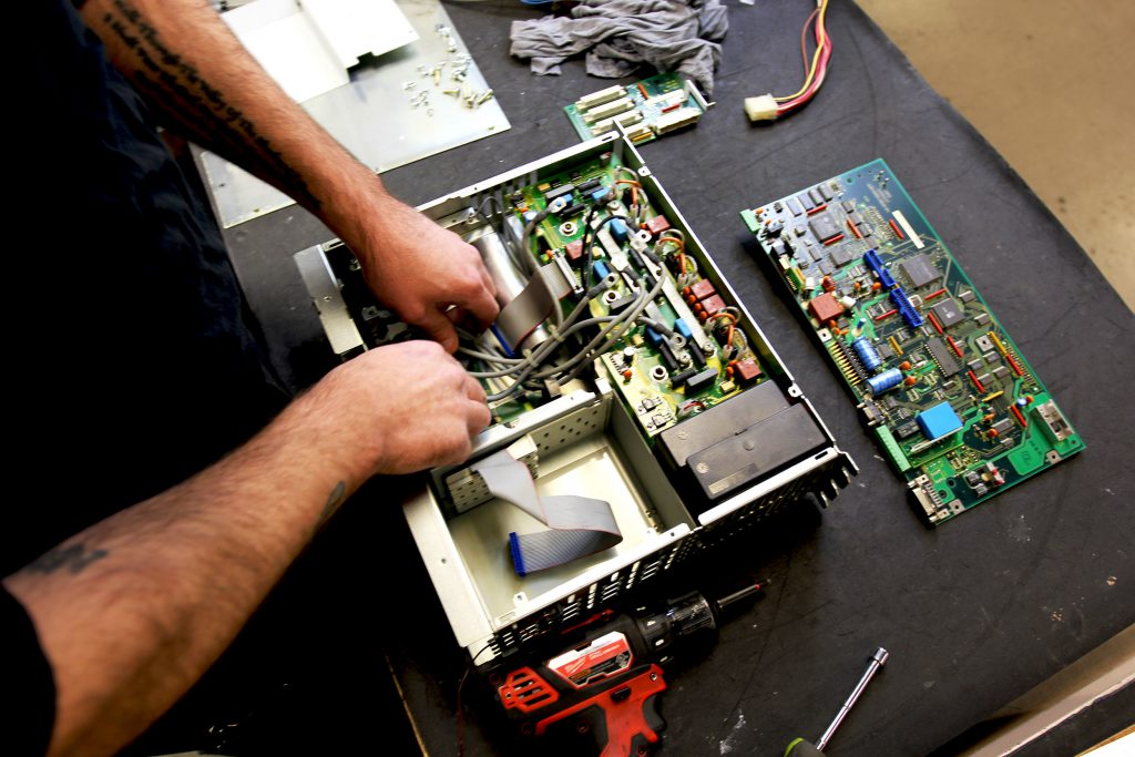 Indramat DDS drive being disassembled for repair and rebuild.
